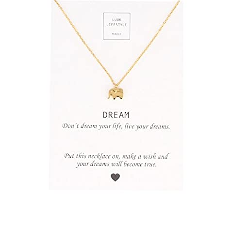 """LUUK LIFESTYLE Women's jewelry, necklace with elephant pendant and card with """"Dream"""" saying, lucky charm, gold"""
