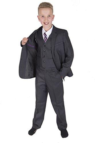 Cinda 5 Stück Grau Boy Anzüge Hochzeit Anzug Junge Seite Partei-Abschlussball -Klagen Dunkelgrau 128-134