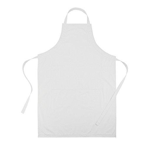 Cucina Sana Küchenschürze - Grillschürze für Männer und Frauen, Schürze mit verstellbarem Nackenband und 2 Taschen (weiß)