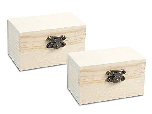 Vetrineinrete® set 2 scatole in legno quadrate per decoupage decorazione portagioie bomboniere cofanetto portaoggetti con chiusura clip 8,8 x 5 x 5,5 cm d49