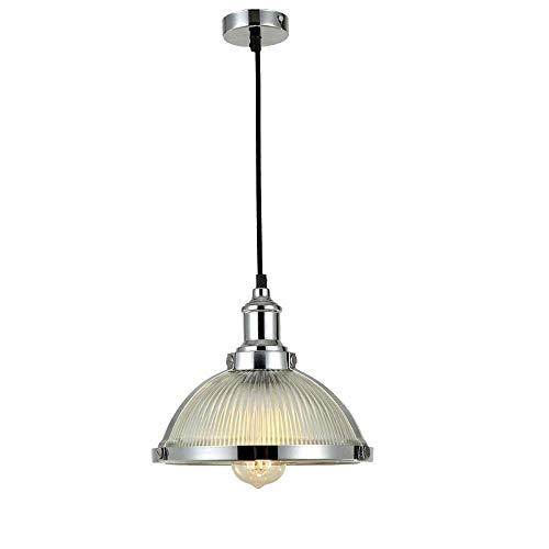 Vintage Industrie Pendelleuchte Deckenleuchte Retro Glas Rundschirm Hängelampe Metallring Leuchte für Kücheninsel Esstisch Bar Loft Foyer Flur Kronleuchter Höhenverstellbar D27CM, Chrom -