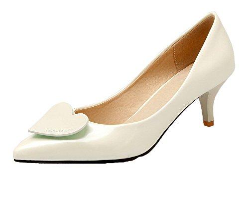 VogueZone009 Damen PU Spitz Zehe Gemischte Farbe Ziehen auf Pumps Schuhe, Cremefarben, 41