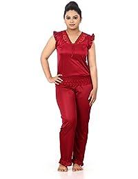Fabme Women's Satin Night Suit Set (Top and Pyjama)