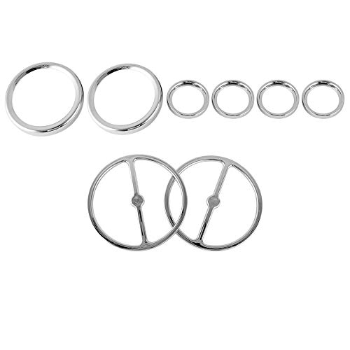 8 Stück Chrom Motorrad Dashboard Rahmen Dekorative Stereo Accent Tacho Cover Trim Ring Set Für Harley Street Road Glide - Silber