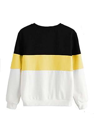 ROMWE Damen Streifen Sweatshirt Farbblock Lang Locker Langarmshirt Pullover