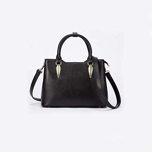 Eeayyygch koreanische Version der Kuh zweischichtige Rindsleder weibliche Tasche Kätzchen Tasche Messenger Lock Leder Damen Tasche Umhängetasche (Farbe : Schwarz, Größe : -)