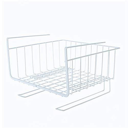 LY/WEY Schrank Schrank Ablagekorb Getränkehalter Organizer Unter Regal Schreibtisch Küche Doppelhaken Eisen Kunst Draht Pantry Bookshelf Home, Weiß -
