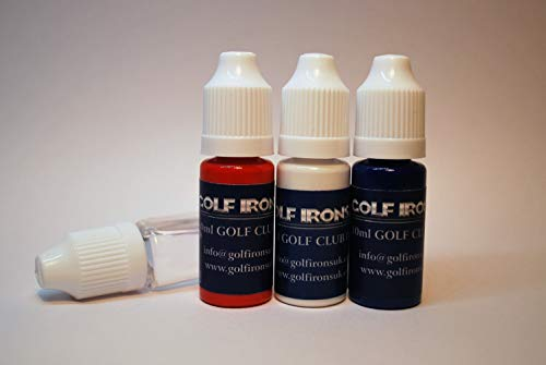 Golf Club Paint, Red - White - Blue Plus Cleaning Solution, Paint Fill Numbers Letters, Logos onto Existing Golf Club Graphics -