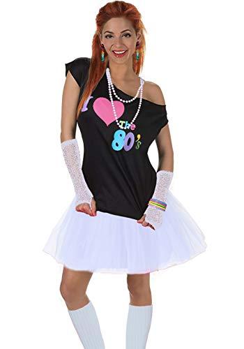 Fun Daisy Clothing Damen I Love The 80er Jahre T-Shirt 80er Jahre Outfit Zubehör, Weiß - UK 14-16 / M-L