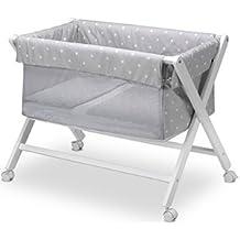Pirulos Stars - Minicuna tijera plegable, color gris y blanco