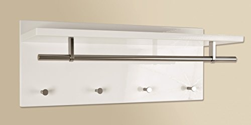 Wandgarderobe in hochglanz weiß mit Edelstahloptik; Maße: 75x26x30 cm
