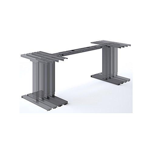 eLift Pro - Professionelles Tischgestell elektrisch - Grau RAL9006 - 100% MADE IN BADEN-WÜRTTEMBERG - 140-200cm Breite - Stufenlos verstellbar - Soft Start/Stop. 2 Motoren von BOSCH. 3 Jahre Garantie