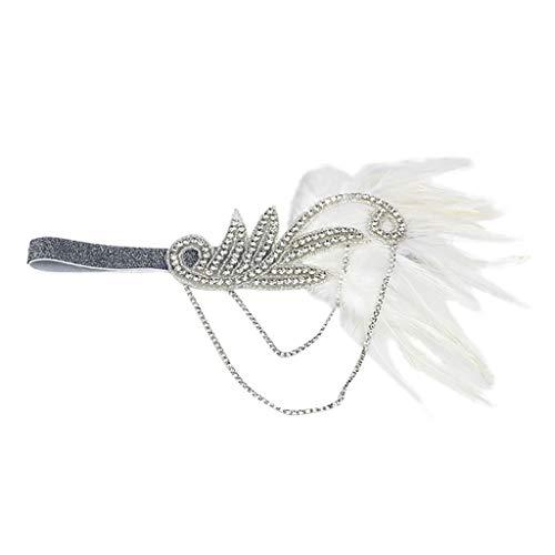 AMUSTER Flapper Stirnband mit Feder Damen Haarband Retro 20er Art Deco Tanzball Kopfschmuck -