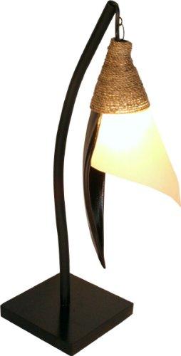 Guru-Shop Palmenblatt Stehlampe/Stehleuchte Bandura- in Bali Handgemacht aus Naturmaterial, Palmholz, Größe: Klein, Dekolampe Stimmungsleuchte