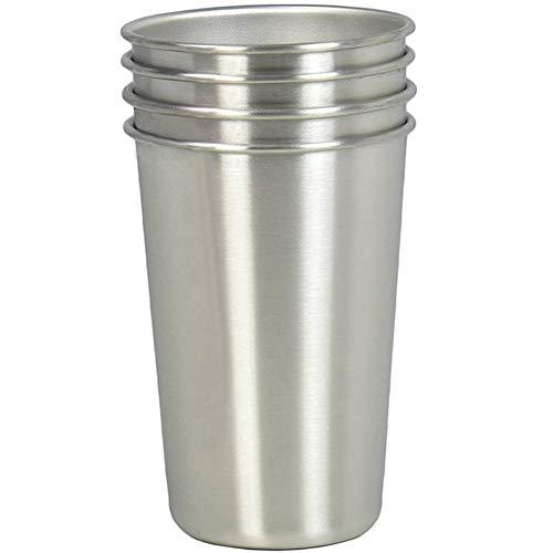 iSeaFly Edelstahl Tassen, Set von 4 16oz Trinkbecher, stapelbar Bier Tasse, BPA frei gesunde Metallbecher Edelstahl Becher (Bier-tassen-set Von 4)
