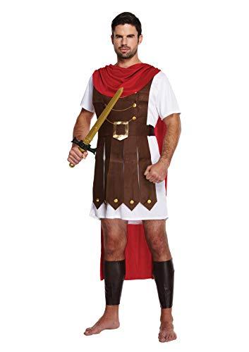 Roman Krieger Kostüm - Enthält Gladiator Tunika mit angenähtem Umhang und Bein Gauntlets- Gladiator Kostüm oder Römischer Soldat Kostüm für Halloween - UK Größen M-XL (Men: X-Large, Brown)