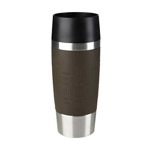 Emsa Isolierbecher Mobil genießen 360 ml Quick Press Verschluss Travel Mug -Braun (Manschette Braun)