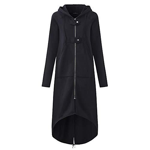 TUDUZ Damen Winter Mantel Warm Reißverschluss Öffnen Hoodies Einfarbig Beiläufig Lange Ärmel Sweatshirt Lange Mantel Tops Outwear Winter Jacke