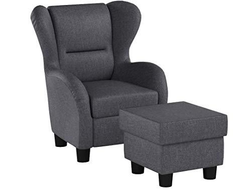 Furniture for Friends Möbelfreude® Ohrensessel Hellgrau Wohnzimmersessel mit Hocker
