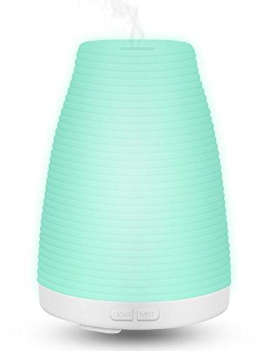 Difusor Aroma LED Ultrasonico de Aceites Esenciales 100ml de MLoveBiTi, Difusor de Aromas, 7 Color Luz cambiado, Apagado Auto, Para Bebes Hogar Dormitorio Baño, Salón, Yoga, Oficina