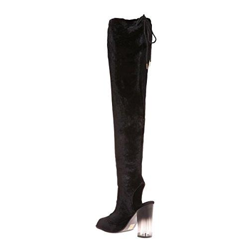 La Modeuse - Cuissardesen velours peep toes Noir