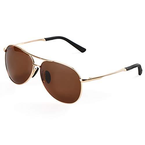 Polarisierte Sonnenbrille für Herren Damen retro Polarisiert Fahrradbrille Aviator Stil Pilotenbrille klassische Fliegerbrille mit Federscharnier UV 400 Schutz Al-Mg Metallrahme Ultra leicht (Brown)