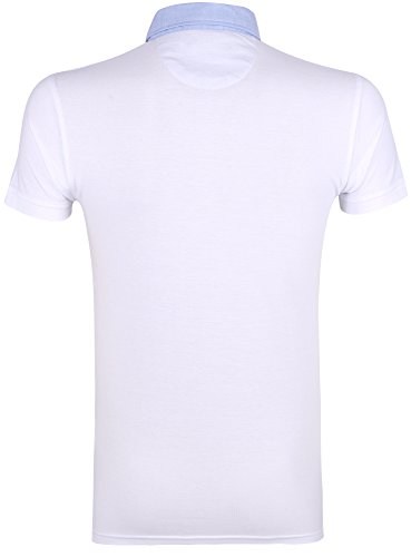 oodji Ultra Herren Poloshirt mit Hemdkragen Weiß (1000N)