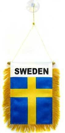 AZ FLAG Fanion Suède 15x10cm - Mini Drapeau suédois 10 x 15 cm spécial Voiture - Bannière