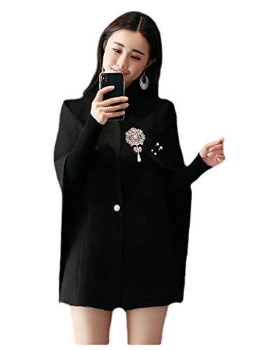 CuteRose Women 1 Button Caftan Poncho Custom Fit Sleeveless Jacket Trench Coat Black L