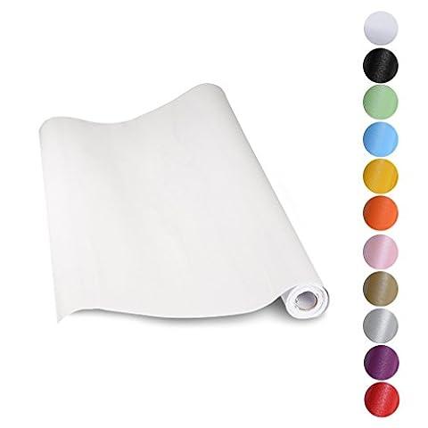 KINLO 5*0.61M Papier Peint Auto-Adhésif Blanc pour Armoire de Cuisine en PVC Imperméable Style Moderne Stickers Autocollant Muraux Étanche Décoration pour Chambre Salon Meuble