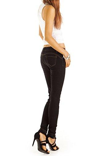 Bestyledberlin Damen Jeans, Skinny Shaping Jeans, Röhrenjeans eng, Slim Fit Hosen j37f Schwarz