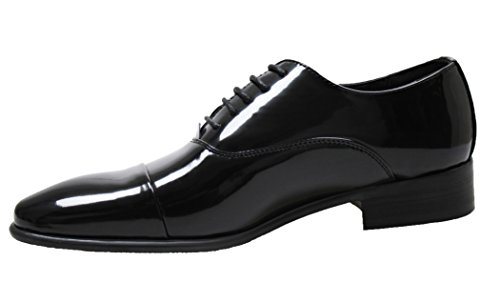 Scarpe uomo eleganti nero classiche calzature man's shoes business cerimonia (42)
