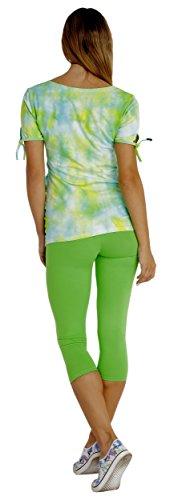 s 3/4 Capri aus Baumwolle Blickdichte Leggins Viele Farben (Grün, XL - 42) ()