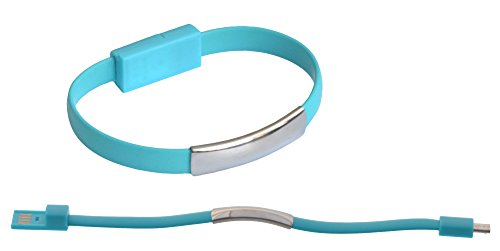 abel USB Daten Kabel Arm Band Bracelet Kette USB gummi elastisch zu Micro USB für Samsung, HTC, LG, Nokia, Sony, Huawei, Motorola, etc.- in Blau ()