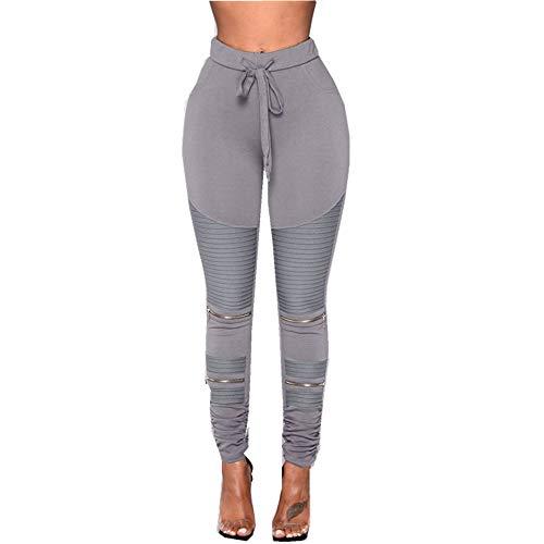 MKLVWU 2019 Frauen Größe hohe Taille Stretch schlanke Bleistifthosen, Frauen Plissee Reißverschluss Yogahosen Grau L -