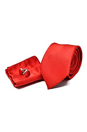 Red Satin Men's Tie, Handkerchief and Cufflinks Set - 100% Silk - Classic, Elegant and Modern - (Necktie set Gift Box, ideal for a wedding, with a suit, at work .)