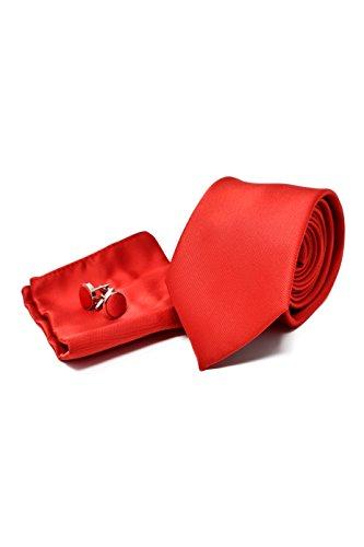 Corbata hombre, Pañuelo Bolsillo Gemelos Rojo Satén
