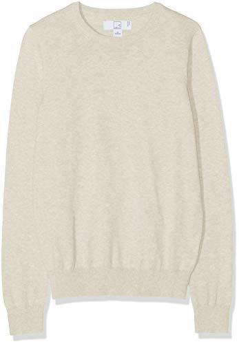 MERAKI Baumwoll-Pullover Damen mit Rundhals, Beige (Linen), 42 (Herstellergröße: X-Large)