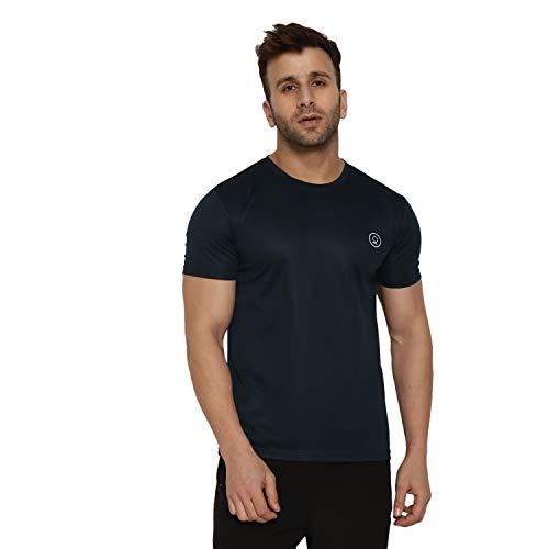CHKOKKO Men's Round Neck Regular Dry Fit Stretchable Yoga T-Shirt (Navy Blue, Large)