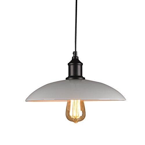 Lightess Suspension Luminaire E27 Métal Abat-jour Eclairage de Plafond Style Antique Industrielle Vintage Retro 220V Installation Facile pour Eclairage Cuisine Salle à manger Salon Chambre d'enfants et Restaurant - Blanc