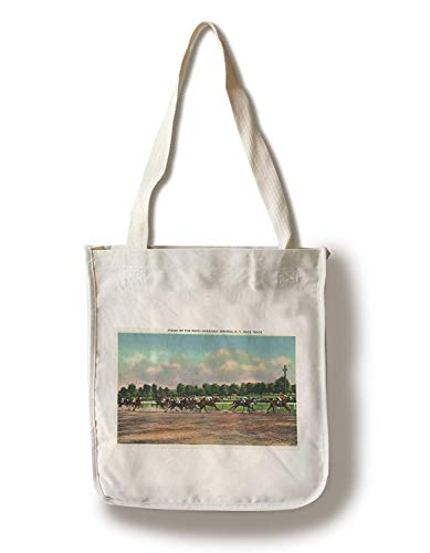 Saratoga Springs, New York Jockeys Finishing Horse Race At Race Track Canvas Tote Bag Faltbare Einkaufstasche -