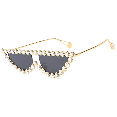 Z&HA Cat Eye Sonnenbrille Kristall dekorative Brille Dreieck Brille Metallrahmen UV400 Farbe Linse,01