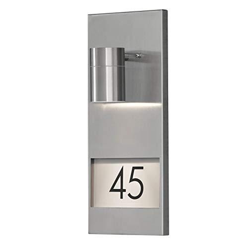LED Hausnummerleuchte DOM Außenleuchte, 1-Flammig, Edelstahl, GU10-230V, (Form:W20) (Kaltweiß)