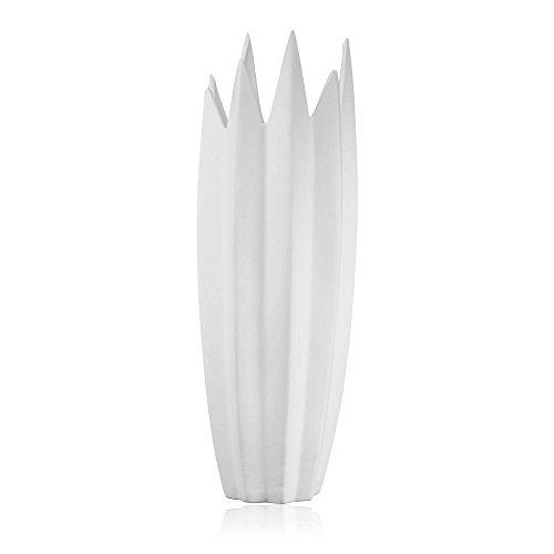 Sandra Rich Deko Bodenvase Spike Zacken H. 50cm D. 18cm matt weiß Keramik