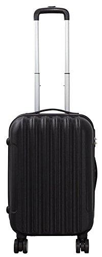 Hartschalen ABS Koffer Trolley Reisekoffer Reisetrolley Handgepäck Boardcase Vigo (Schwarz, M)