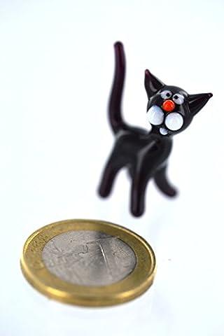 Schwarze Katze - Miniatur Figur schwarzes Kätzchen aus Glas - Katze Schwarz - Glasfigur Glücksbringer Mini 1-1 Glastier Deko Setzkasten
