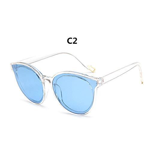CCGSDJ Frauen Cat Eye Runde Sonnenbrille Spiegel Bunte Rosa Dame Weibliche Heißer Sonnenbrille Oculos De Sol