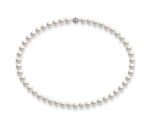 Schmuckwilli Damen Muschelkernperlen Perlenkette Weiß Magnetverschluß echte Muschel 45CM dmk0019-45 (8mm)