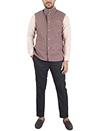 Bihar Khadi Men's Cotton Nehru Jacket (Brown, 38, bkctncw0003)