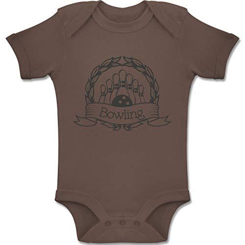 Sport Baby - Bowling Lorbeerkranz - 3-6 Monate - Braun - BZ10 - Baby Body Kurzarm Jungen Mädchen